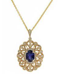 Effy - Blue 14K Yellow Gold Sapphire And Diamond Pendant Necklace - Lyst