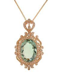 Effy - Green Amethyst, Diamond And 14k Rose Gold Pendant Necklace - Lyst
