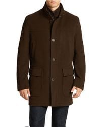 Cole Haan - Brown Wool-blend Bib Topcoat for Men - Lyst