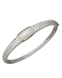 Lord & Taylor - Metallic Red Box Gallery Sterling Silver With 14k Yellow Gold Diamond Bangle Bracelet - Lyst