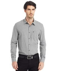 Kenneth Cole | Gray Modern Fit Heathered Sportshirt for Men | Lyst