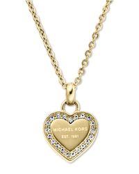 Michael Kors | Metallic Heritage Hearts Pavé Logo Pendant Necklace/goldtone | Lyst
