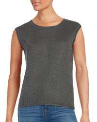 Calvin Klein | Black Ribbed-knit Shell | Lyst