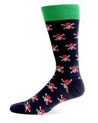 Hot Sox | Blue Pirate Skulls Crew Socks for Men | Lyst