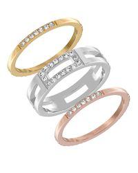 Swarovski | Multicolor Crystal Cubist Three-tone Ring Set | Lyst