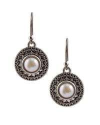 Lucky Brand | Metallic Freshwater Pearl Medallion Earrings | Lyst