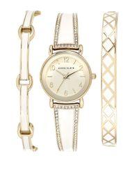 Anne Klein | Metallic 3-piece Swarovski Crystal Goldtone Watch And Bracelet Set | Lyst