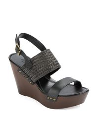 Charles by Charles David | Black Isola Leather Platform Wedges | Lyst