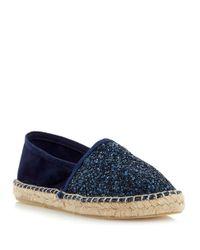 Dune | Blue Glitta Fabric Flats | Lyst