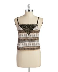 Lord & Taylor | Natural Printed Crocheted Tank | Lyst