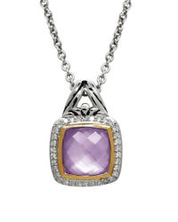 Lord & Taylor - Purple Quartz, Diamond And Sterling Silver Pendant Necklace - Lyst