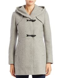 Jessica Simpson | Gray Wool-blend Tweed Toggle Coat | Lyst