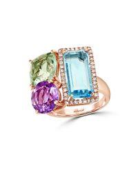 Effy | Multicolor Mosaic Diamond, Semi-precious, Multi-stone And 14k Rose Gold Ring | Lyst