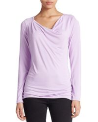 Lord & Taylor | Purple Petite Draped Neck Blouse | Lyst