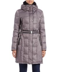 Vince Camuto | Gray Faux Fur-collared Quilted Coat | Lyst