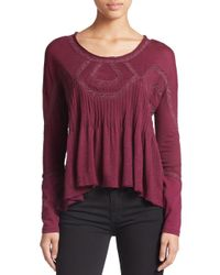 Free People | Purple Embroidered Babydoll Top | Lyst
