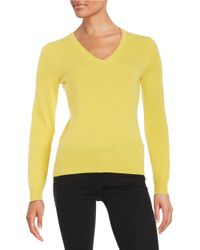 Lord & Taylor | Yellow Basic V-neck Cashmere Sweater | Lyst