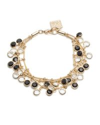 Anne Klein | Metallic Black And White Dangling Stone Bracelet | Lyst