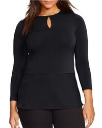 Lauren by Ralph Lauren | Black Plus Keyhole-accented Top | Lyst