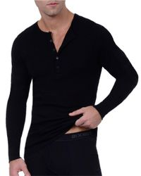 2xist | Black Heathered Cotton Henley for Men | Lyst