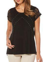 Rafaella - Black Roundneck Lace-panel Top - Lyst