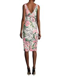 Kay Unger - White Sleeveless Floral Cocktail Dress - Lyst