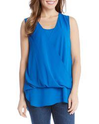 Karen Kane | Blue Drape Front Layered Top | Lyst