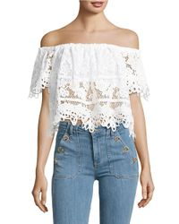 Free People | White Sweet Dreams Off-the-shoulder Crop Top | Lyst