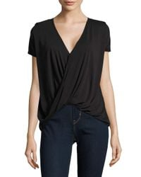 Lord & Taylor | Black Short Sleeved Mock Wrap Top | Lyst