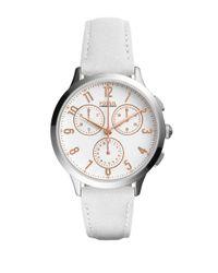 Fossil - White Abilene Leather-strap Watch - Lyst