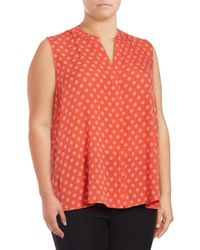B Collection By Bobeau | Red Plus Dotted Buttoned Top | Lyst