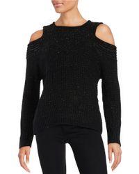 Yigal Azrouël | Black Metallic Cold-shoulder Sweater | Lyst