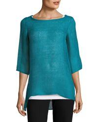 Eileen Fisher - Blue Solid Hi-lo Top - Lyst