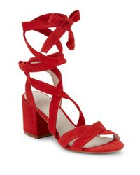 Kenneth Cole | Red Victoria Lace-up Block-heel Sandals | Lyst