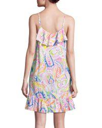Lauren by Ralph Lauren - Pink Paisley Ruffle Cotton Chemise - Lyst