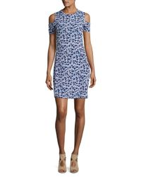 MICHAEL Michael Kors - Blue Floral Print Cold-shoulder Dress - Lyst