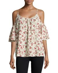 French Connection - Multicolor Anastasia Floral Cold-shoulder Top - Lyst
