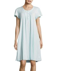 Miss Elaine | Blue Embroidered Ribbed-knit Nightgown | Lyst