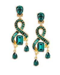 Oscar de la Renta - Multicolor Stone-accented Loop Clip-on Drop Earrings - Lyst