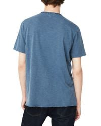 Mango - Blue Printed Cotton Tee for Men - Lyst