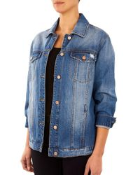 Kensie - Blue Distressed Denim Jacket - Lyst