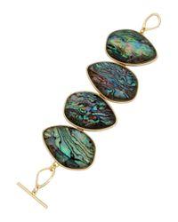Kenneth Cole - Green Abalone Goldtone Bracelet - Lyst