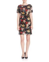 Marc New York | Black Floral Sequined Shift Dress | Lyst