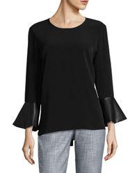 Calvin Klein | Black Contrast Flare-sleeve Top | Lyst