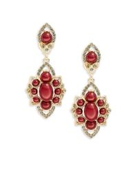 Lord & Taylor - Red Cluster Drop Earrings - Lyst