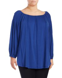 Lauren by Ralph Lauren | Blue Plus Azure Long-sleeve Top | Lyst