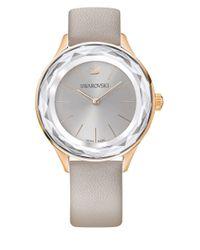 Swarovski - Metallic Octea Nova Leather Strap Watch - Lyst