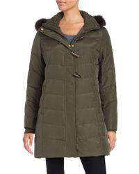 Ellen Tracy | Green Fox Fur-trimmed Puffer Coat | Lyst