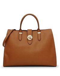 Lauren by Ralph Lauren | Brown Charleston Textured Leather Satchel | Lyst