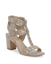 424 Fifth | Natural Letha Suede Studded Sandals | Lyst